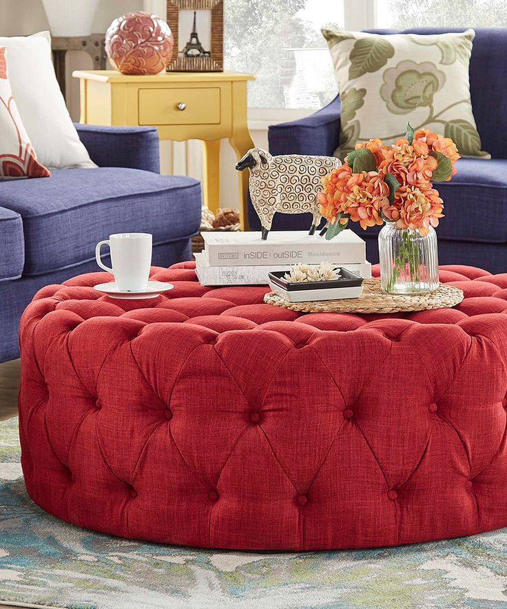 Another great find on #zulily! Red Montvale Tufted Round Cocktail Ottoman by HomeBelle #zulilyfinds