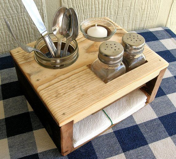 Picnic Table Caddy Kitchen Table Organizer Silverware Salt And Pepper Napkin Candle Holder Centros De Mesa De Cocina Organizador De Mesa Mesa De Cocina
