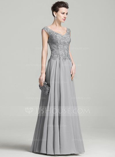 A-Line/Princess V-neck Floor-Length Appliques Lace Zipper Up Cap Straps Sleeveless No Silver Spring Summer Fall General Plus Chiffon Evening Dress