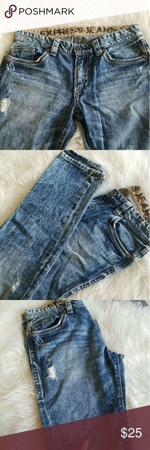 👖Express distressed wash Jeans👖 They have arrived.   Men express jeans  In good condition Single flaw noted and pointed out on 3rd pic.  Light Blue with light white wash   Size 32X30 Express Jeans Straight