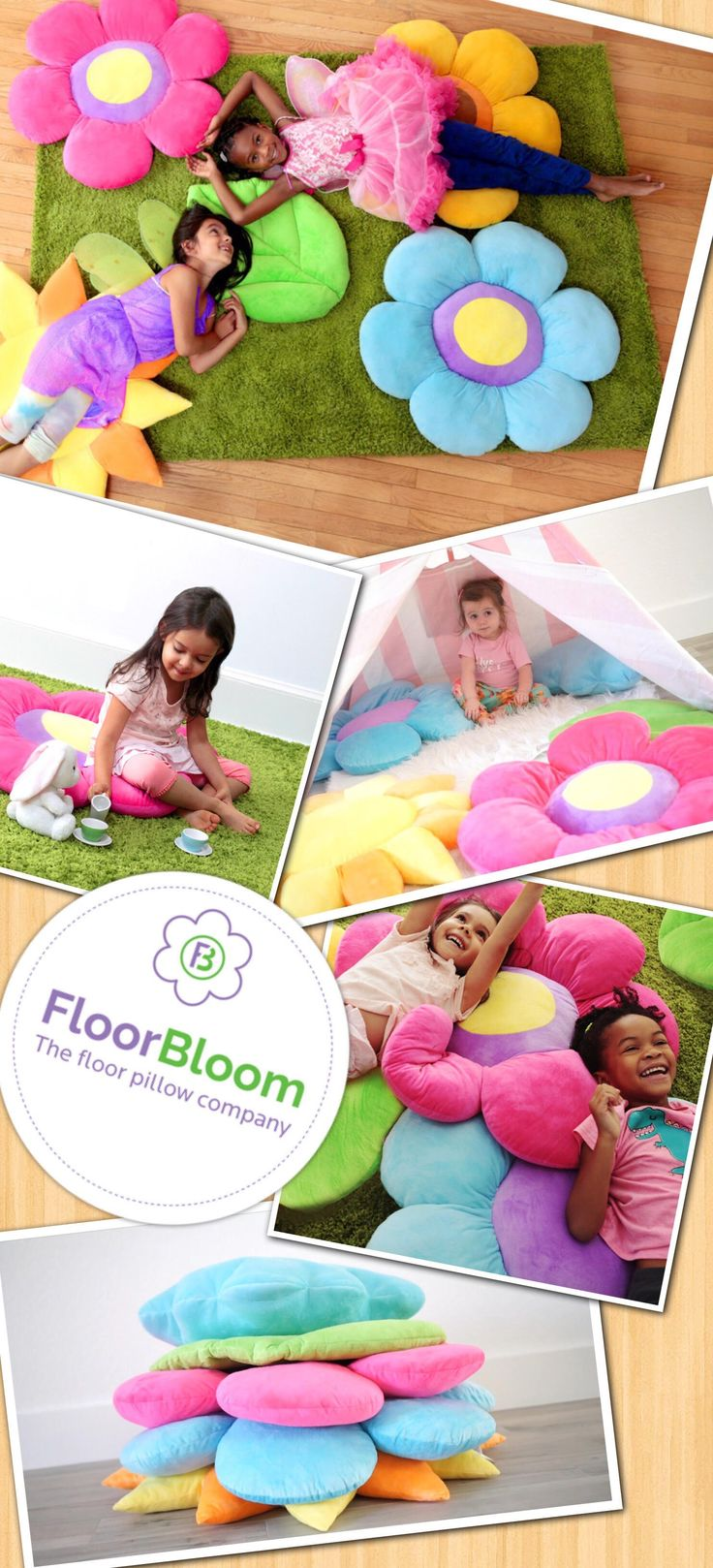 Floor pillows by Floor Bloom are designed for kids but with moms in mind! Kids love the fun, realistic shapes, super-soft fabric and bright colors. Moms love that these floor pillows help protect their rugs and floors. Plus kiddos will leave your nice throw pillows alone when they have pillows of their own!