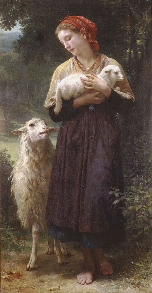 The Newborn Lamb by William-Adolphe Bouguereau. I've always been so fascinated with Bouguereaus work. He captures the expressions and the idea of real life and spiritual life if what I believe it to be. Even after all this time that has passed. He always shows the woman as a compassionate being. Children being children and Angels and Arch Angels and the spirit world being more than what we could ever imagine. The blonde in the pic.