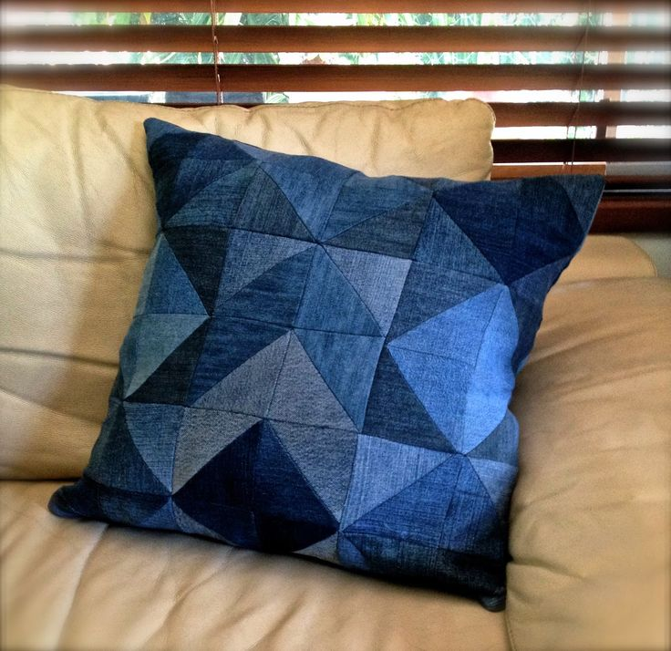 Gathering Happy Memories  Patchwork Denim Cushion Cover made out of our familys collection of