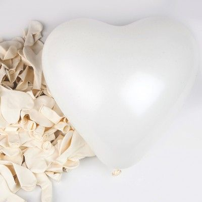 Ballons en forme de coeur (x6) blanc