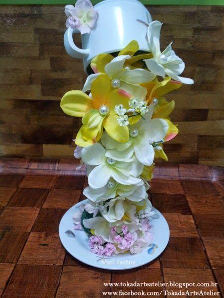 Toka da Arte Atelier: Cascata de Flores - na Xícara!