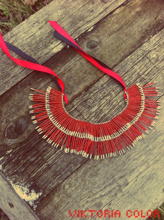 necklace with safety pin and ribbon by VictoriaColor on Etsy