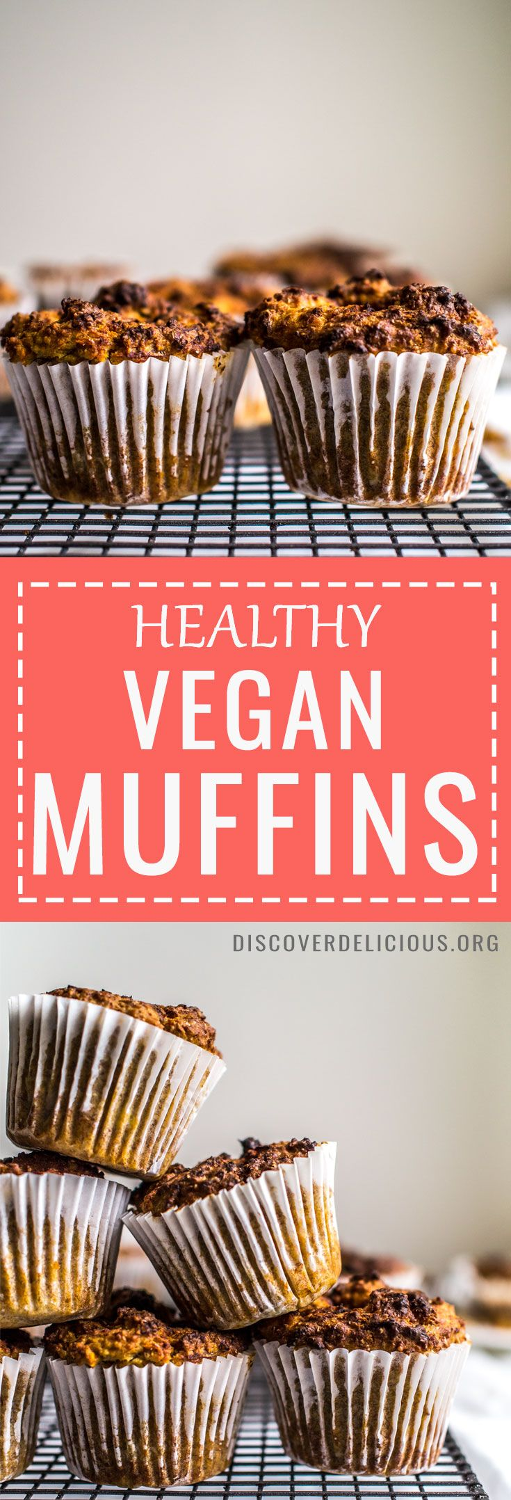 Healthy Vegan Muffins! So delicious with hidden goodness packed in: naturally sweetened by apples and sweet potato, carrot, zucchini or beetroot, and held together by mashed banana! Perfect for breakfast, in lunchboxes or as a snack. #muffin #recipe #recipes #lunchbox #plant #based #easy #oatmeal #sugar #free #dairyfree