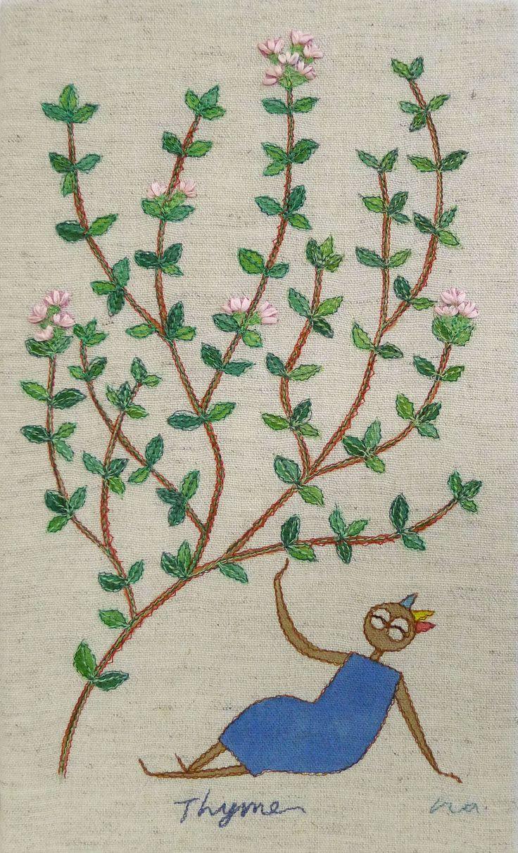 "herb no.4 ""thyme"" needlework illustration Ⓒ Nagako Ono HAPPa_Ya #embroidery #herbs"