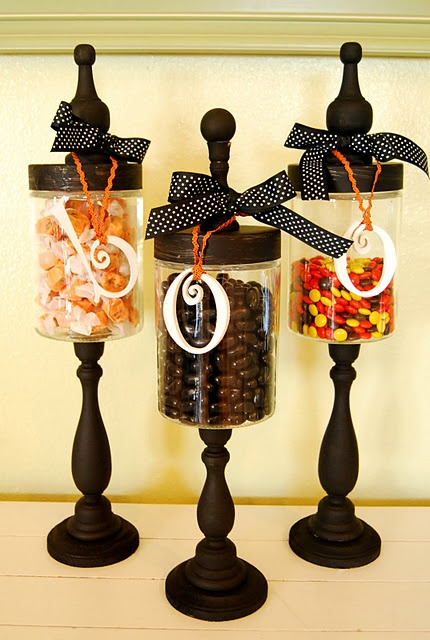 Supplies to make your own apothecary jars. candlesticks - Michaels, 2.99 each round base - any craft store, .50 letters - Hobby Lobby, .99 each Glass Jar - Hobby Lobby, 2.99 each Finial - .99 each or knob - bag full for 2 dollars or so at any ol' craft store ribbon - any craft store, about 2 dollars paint - my paint bin, free (about 20 dollars to make all three and just over a half hour. I didn't have any coupons or sales and was not patient enough to wait for them, you could do it for quite…