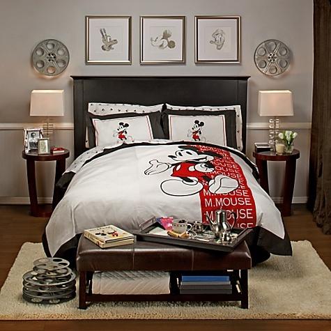 Elegant Mickey Bedroom; Love the movie reels & silver framed prints