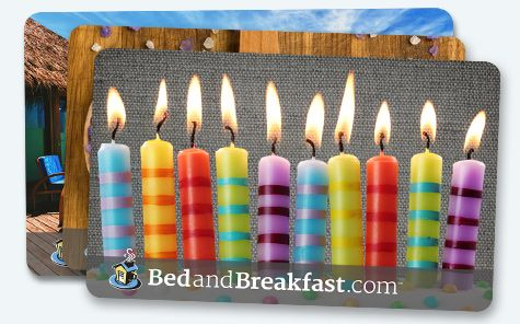 Enter to win a $500 BedandBreakfast.com Getaway Gift Card!  The BedandBreakfast.com Getaway Gift Card® never expires or declines in value, and it has no blackout dates. The card can be shipped in the mail or sent instantly via email as an ideal last-minute gift. It's the perfect gift for everyone on your list!