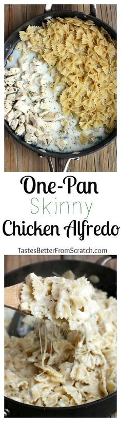 The best and easiest Skinny Chicken Alfredo Pasta recipe, made in one-pan for super easy clean-up! On http://MyRecipeMagic.com (Bake Pasta Alfredo)