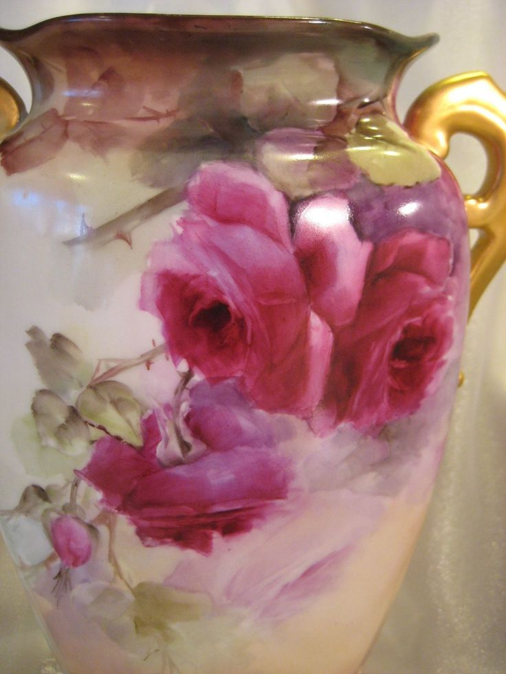 Beautiful Antique Limoges French Hand Painted Porcelain Vase ~ Exceptional Hand Painted Roses ~ Ornate Gold Feet ~ Roman Gold Handles ~ Sterling Quality Finish Vintage Victorian China Painting ~ MR France Circa 1890's
