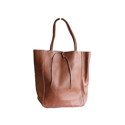 Tania Italian Brown Leather Shopper Bag - £49.99