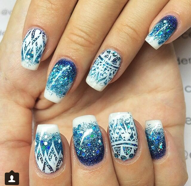 blue mandala nails nail ideas pinterest blau. Black Bedroom Furniture Sets. Home Design Ideas