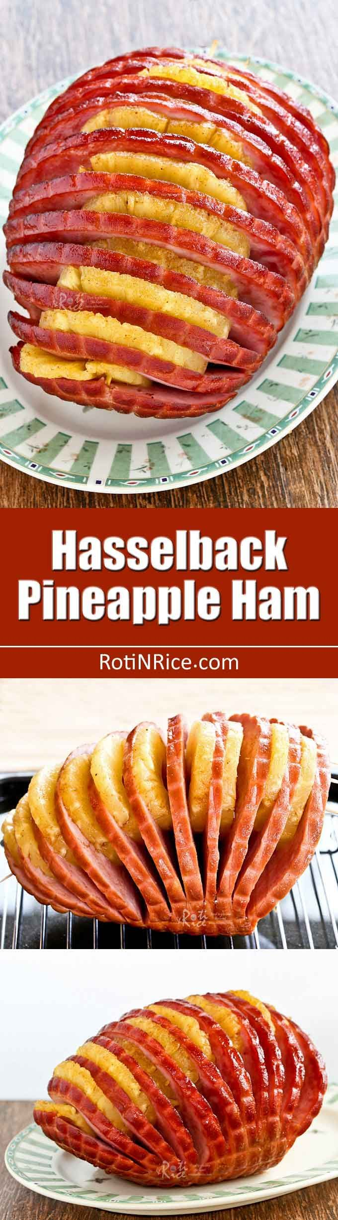 This boneless Hasselback Pineapple Ham is perfect for a smaller family or crowd. Just as delicious and much easier and faster to prepare. | RotiNRice.com
