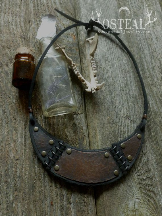Lawless Lands  necklace recycled leather  copper by Osteal on Etsy, $55.00