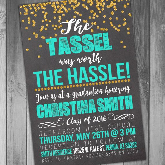 Graduation Invitation Class of High School Graduation College Graduation The Tassel Printable Invitation Chalkboard Graduation Glitter