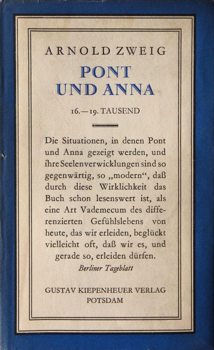 Arnold Zweig, Pont und Anna