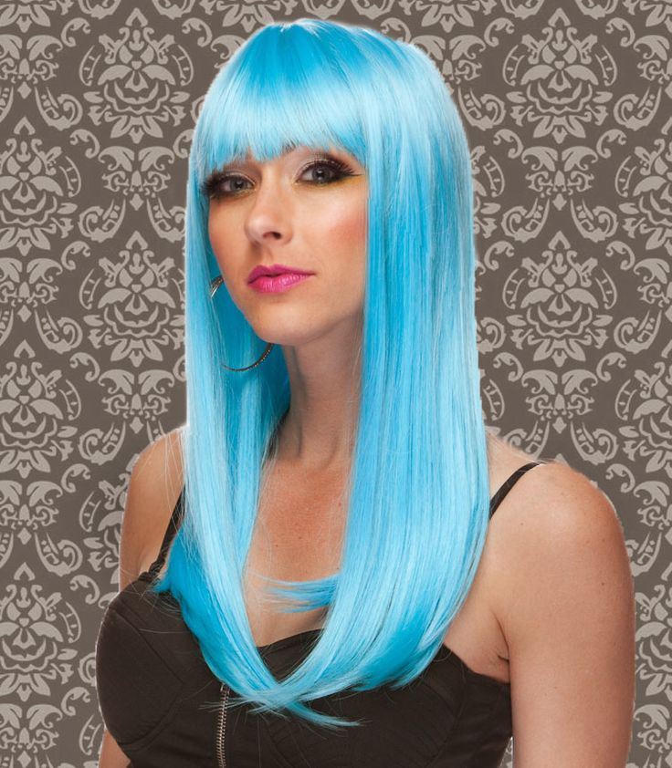 Curly Hair Costume Ideas : Foxy wigs blue costume light long hair wig