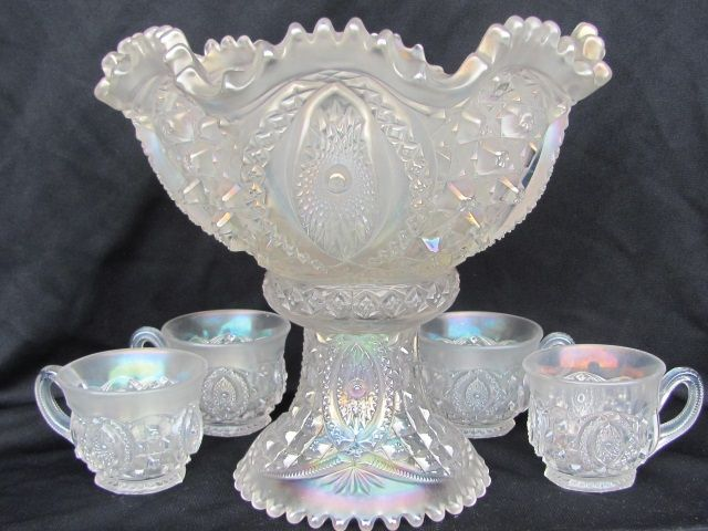 "Carnival Glass: ""Memphis"" by Northwood in White."