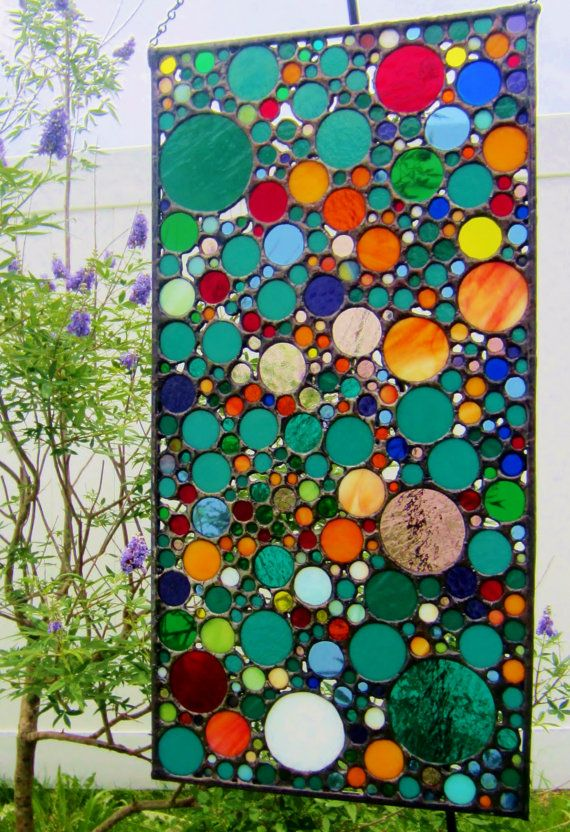 Circle Collage Abstract Glass Art Stained Glass di JBsGlassHouse