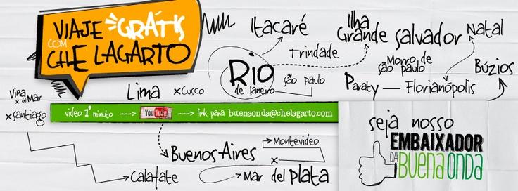 Seja Nosso Embaixador #BuenaOnda =)    Viaje Gratis pelos Che Lagarto Hostels