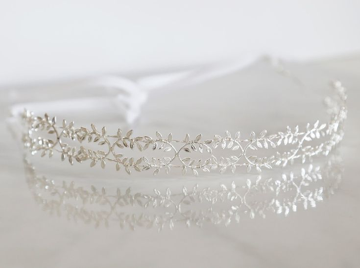 Delicate Silver Fern Leaf Crown - Tie Headband, Crown