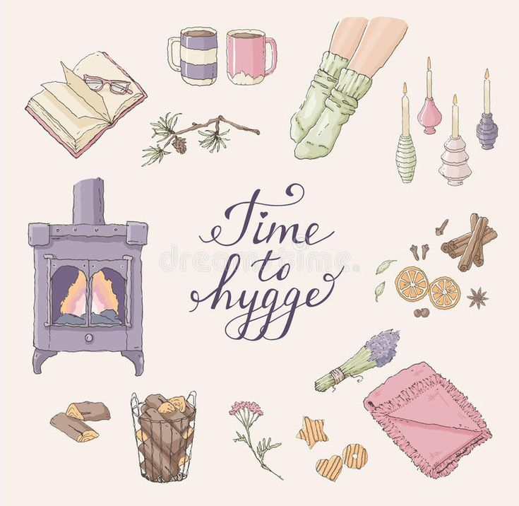 Download Time To Hygge. Cozy Home Things. Handdrawn Card Stock Vector - Illustration of cold, candlelight: 96304620