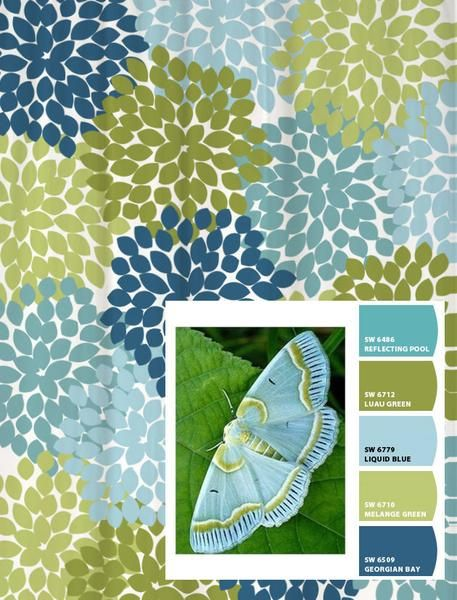 Shower Curtain in Blue and green moth Inspired Floral Standard and Long Lengths 70, 74, 78, 84, 88, or 96 inches by Swirled Peas