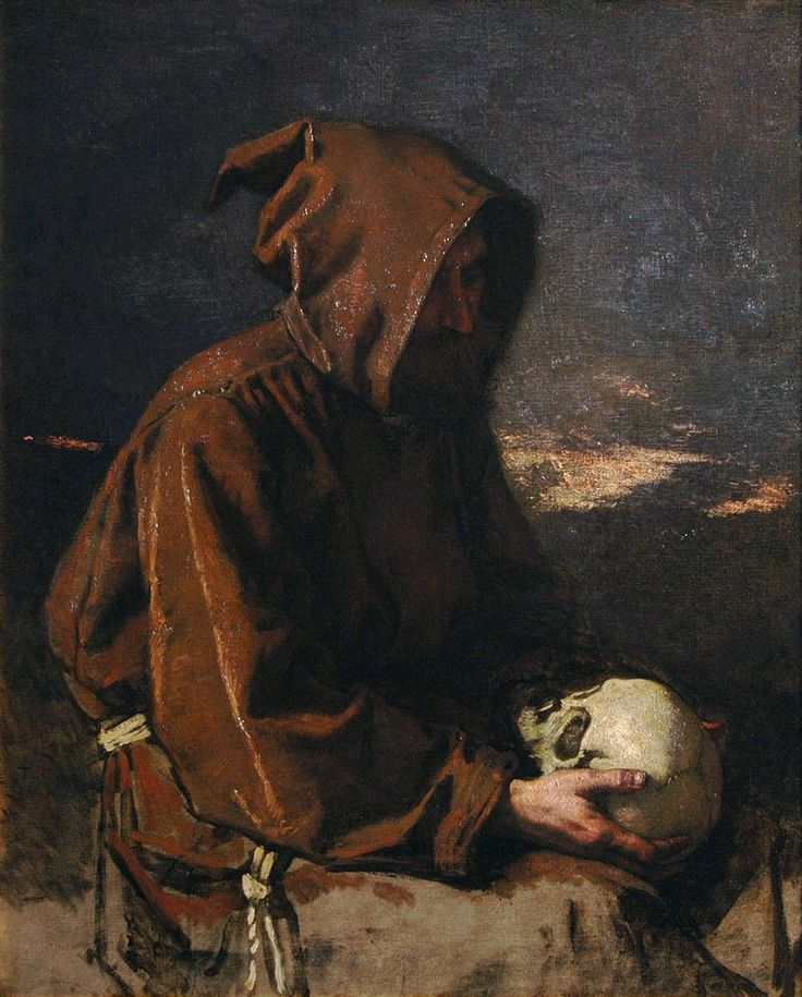 Monk Contemplating A Skull, by Thomas Couture - (art for reference)