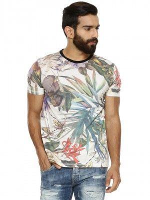 BREAKBOUNCE Hawaiian T-Shirt With Contrast Rib