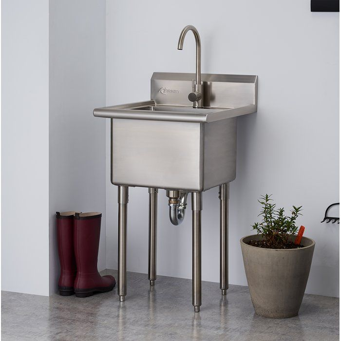 21 5 X 24 Free Standing Laundry Sink With Faucet Laundry Sink Stainless Steel Utility Sink Laundry Room Sink