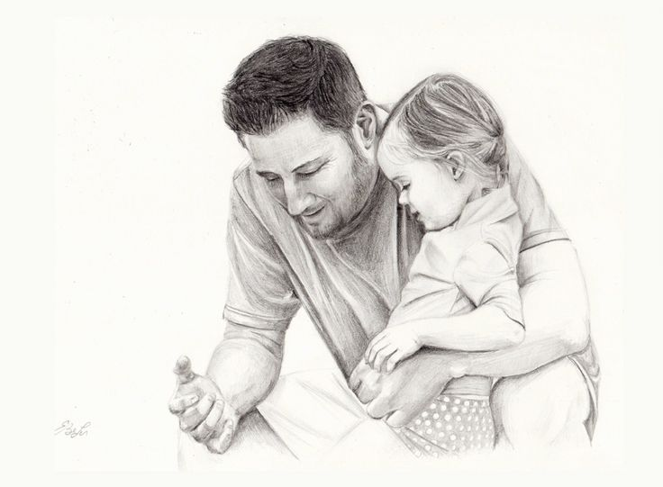 Private commission graphite drawing of a father and ...