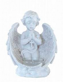 Cherub T-Light Candle Holder Grave Ornament - Cherub Holding A Cross In Prayer