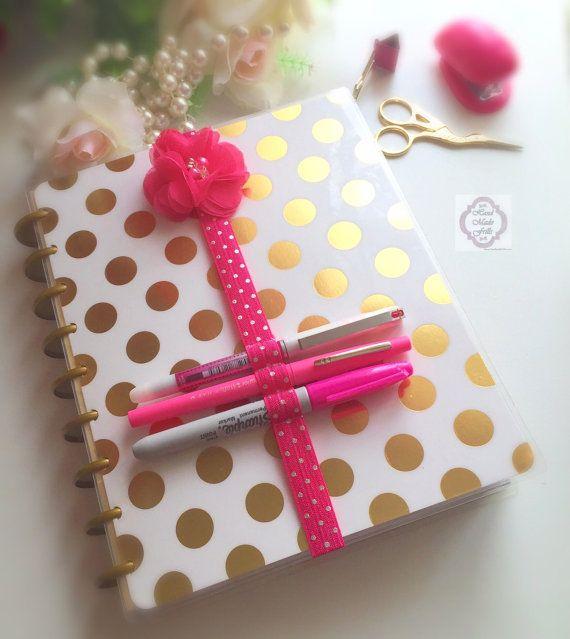 Pink and silver Flower Planner Band Pen Holder by handmadefrillsuk