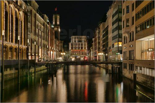 Poster Hamburg bei Nacht   Bleichenfleet