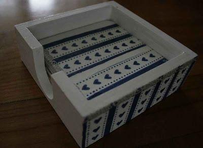Decoupage pads cups with blue hearts / Handmade by Taja