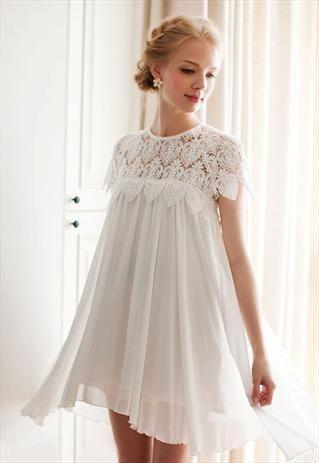 WHITE EYELET LACE PLEATED BABYDOLL DRESS