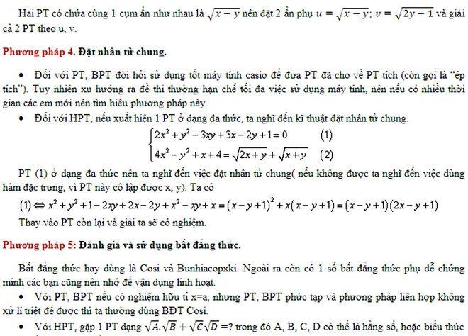 Trong các năm gần đây, câu điểm 9 luôn là chủ đề phương trình, bất phương trình, hệ phương trình và hệ bất phương trình. Để làm được câu này, học sinh cần nắm chắc được 5 phương pháp giải kết hợp với việc sử dụng máy tính.