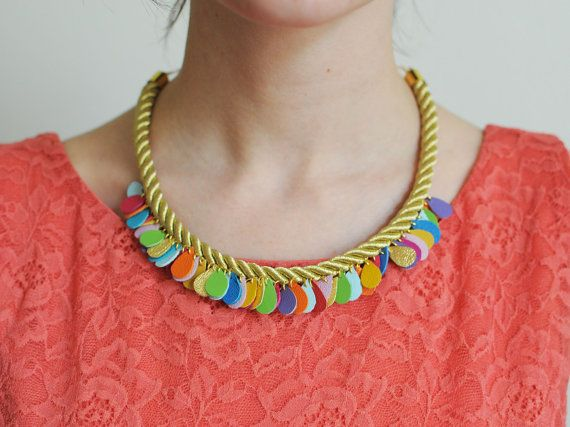Leather Raindrop Handmade statement necklace gold rope and by BenuMade on Etsy