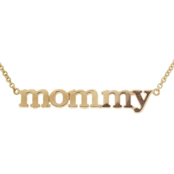 """Jennifer Meyer """"Mommy"""" Necklace - Rose Gold ($850) ❤ liked on Polyvore featuring jewelry, necklaces, rose gold initial necklace, 18k rose gold necklace, rose gold necklace, initial pendant and rose gold chain necklace"""