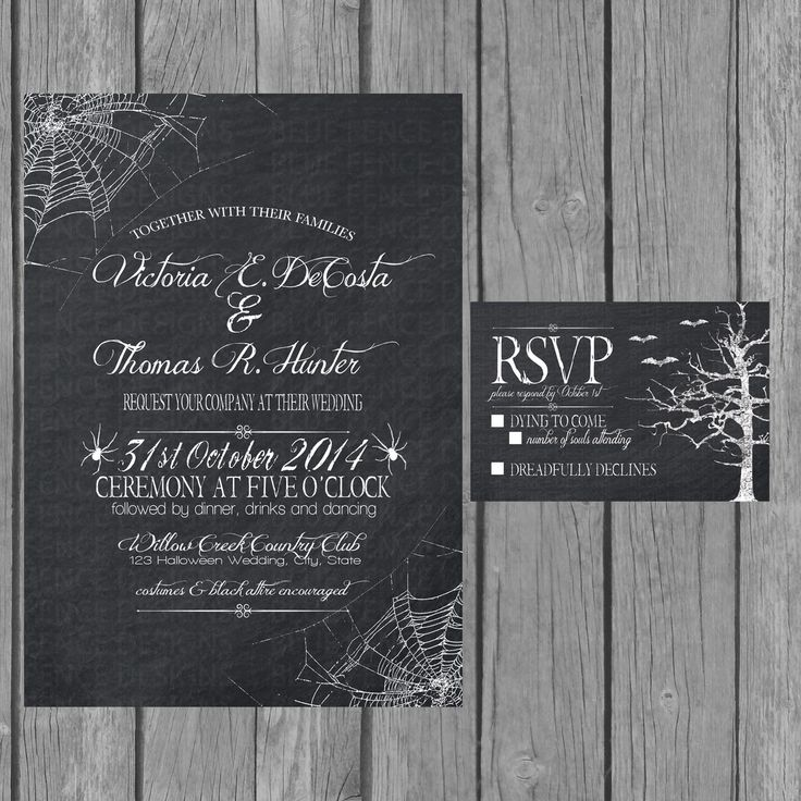 Halloween Wedding Invitation and Stationary.  Creepy Elegance with spider webs, bat, and old trees  Perfect for Until Death Do Us Part Event.  Digital or High Quality Printed Invitations.
