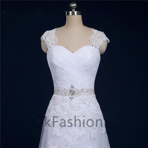 White/Ivory Cap Sleeve Beading Lace Applique Wedding Dress Bridal Gown