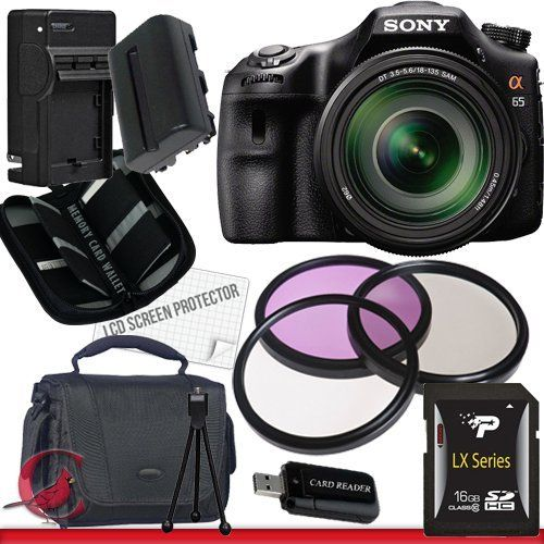Sony Alpha SLT-A65 DSLR Digital Camera with 18-135mm Lens Package 2 by Sony. $1399.00. Package Contents:  1- Sony Alpha SLT-A65 DSLR Digital Camera with 18-135mm Lens with all  supplied accessories 1- 16GB SDHC Class 10 Memory Card 1- Rapid External Ac/Dc Charger Kit   1- USB Memory Card Reader  1- Rechargeable Lithium Ion Replacement Battery  1- Weather Resistant Carrying Case w/Strap  1- Pack of LCD Screen Protectors  1- Camera & Lens Cleaning Kit System  1- Mini...