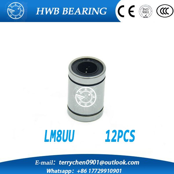 12 pcs/lot LM8UU 8mm linear ball bearing Linear Bearing 8mm 3d printer parts LM8 cnc parts