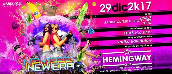 THE CRAZIEST PARTY IS BACK IN TOWN!!  dj set: • VINS JP • BADDA CUTTER ls SHOTTY FAYA • DJ AZ  visual experience: • EHAB H.A.KHER  sexy animation with • VODKA LIQUIDATORS  entry: 5€ // start: 23:30  INFO & PRIVE': 389 184 4196  388 8693531  327 7681554  New Era Party Awake Events