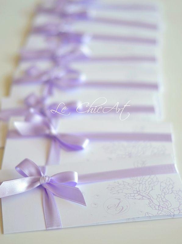 Partecipazione matrimonio mod.pochette Lilla tema mare