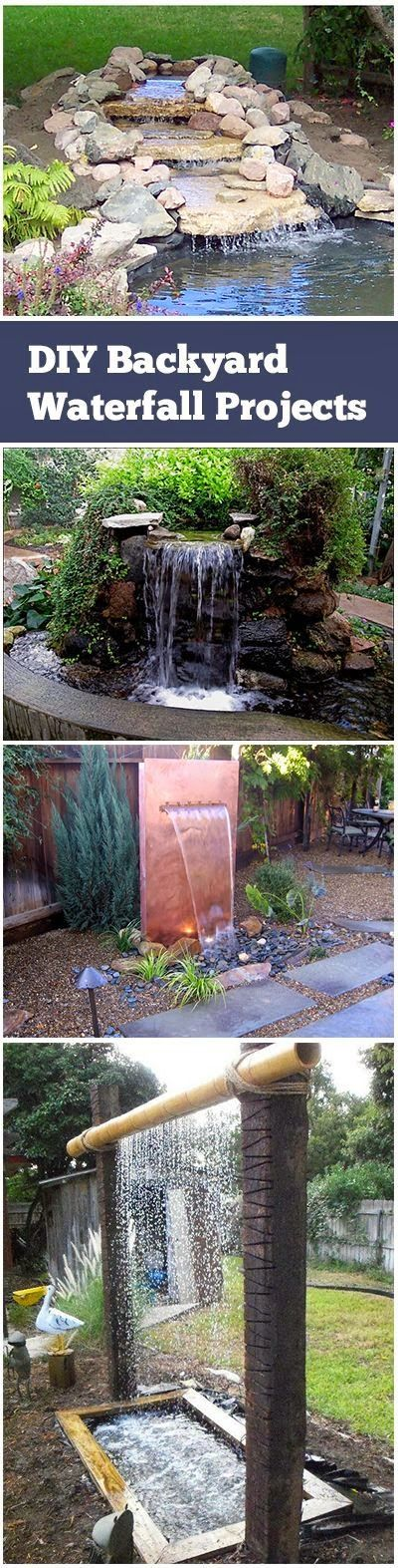 DIY Backyard Waterfall Projects. Second photo: using concrete to build the pond. Then add water feature to pond. Like Carthage.