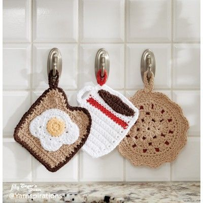 Free Easy Crochet Home Decor Pattern--three crochet potholder patterns. Makes a nice gift for the host/hostess.